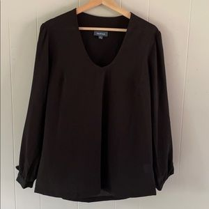 MODCLOTH black v neck blouse with ties sleeves